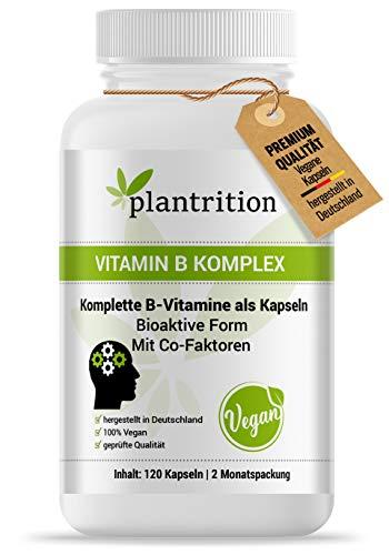 plantrition Vitamin B Komplex hochdosiert Vegan - alle acht B-Vitamine - Bioaktiv Quatrefolic & mit Co-Faktoren - B1, B2, B3, B5, B6, B12, D-Biotin & Folsäure 120 Kapseln