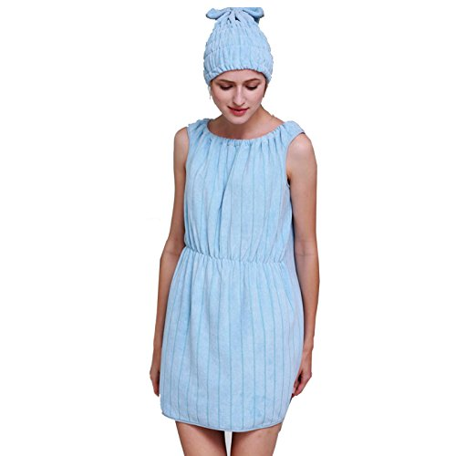 Bluelover Bx-R962 Peignoir Doux Femme Robe De Bain en Microfibre Confortable Spa Bain Jupe avec Bouchon De Bain - Bleu