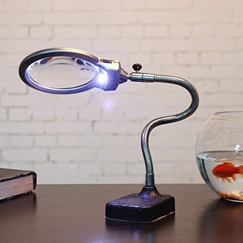 Lil 10X vergrootglas met LED-verlichting, tafelbladvergrotingslens hoge helderheid voor het lezen van schilderen naaimachine reparatie
