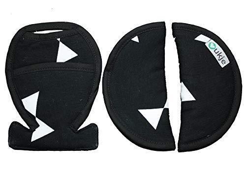 Coussinets Housse Protection pour Ceinture de Sécurité Universels pour Siège Auto (Maxi-Cosi, Cybex, Joie, Stokke) Accessoire Poussette Tissu Coton Oeko-Tex Noir Blanc Rubans