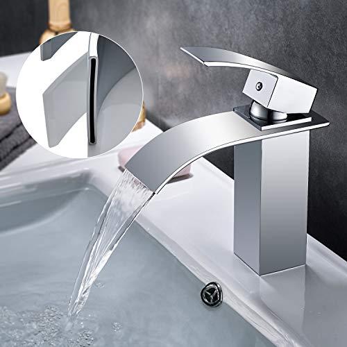 WOOHSE Einhebel-Waschtischarmatur Wasserfall Wasserhahn Bad Kalt und Heiß Badarmatur Spültisch Armatur Mischbatterie für Badezimmer
