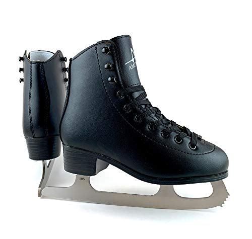 American Athletic Shoe Boy's Tricot Lined Figure Skates, Black, 4 (51704)