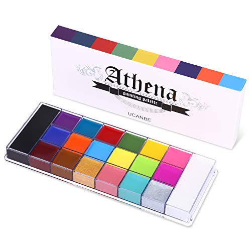 UCANBE 20 Color Athena Face Body Paint Oil - Large Pan Black & White, Professional Non Toxic SFX Makeup Palette, Hypoallergenic Face Painting Pallet for Art, Theater, Halloween, Parties and Cosplay