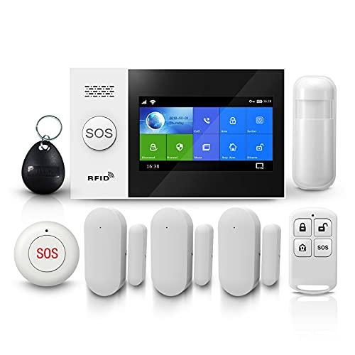 PGST Sistema de seguridad para el hogar PG-107, alarmas para casa wifi de 4.3 pulgadas + 2G+ GPRS Alarmas antirrobo inalámbricas, App Remote Smart Siren para el hogar (sistema de alarma GSM)