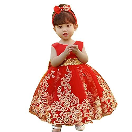 Vestido de niña de bebé Tutu Princess Vestido con la Banda del Pelo para niños Pageant Fiesta de Bodas 100cm Rojo 2pcs