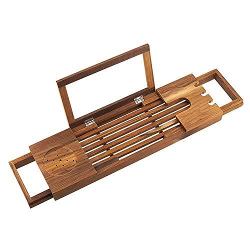 Cleave Waves Bamboe badkuip, plank van hout, met intrekbare zijde, milieuvriendelijk, van hout, badkuip, opbergdoos, tablethouder, inschuif voor wijn