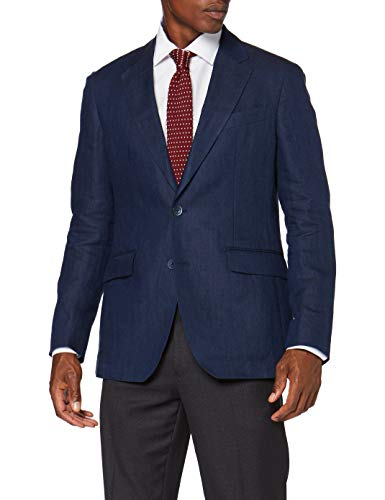 Hackett London Delave Linen Hopsack Chaqueta, Azul (595Navy 595), Medium para Hombre