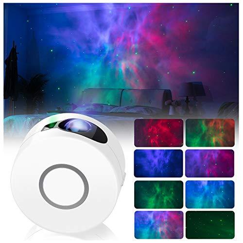 LED Nachtlichtprojektor, 2 in 1 Sternenhimmel Nachtlicht mit Fernbedienung / 15 Beleuchtungsmodi, bewegliche LED Projektionslampe, Festival Party Zuhause Dekoration AtmosphäreLicht Hellgrau. (Weiß)