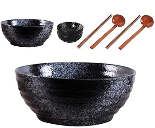 Ramen Bowl, 50 oz líquido Cerámica Moderno Gran Ramen Tazón, Chopstick Set sin Cuchara, Ramen Bowl