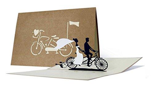 Partecipazioni matrimonio 3d eleganti, inviti matrimonio pop up vintage con sposi in bicicletta, biglietti auguri matrimonio portasoldi per mamma e papà, L17