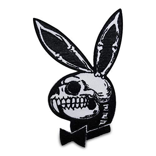 Finally Home Playboy Totenkopf Skull Patch zum Aufbügeln   Playbunny Totenschädel Patches, Bügelflicken, Flicken, Aufnäher