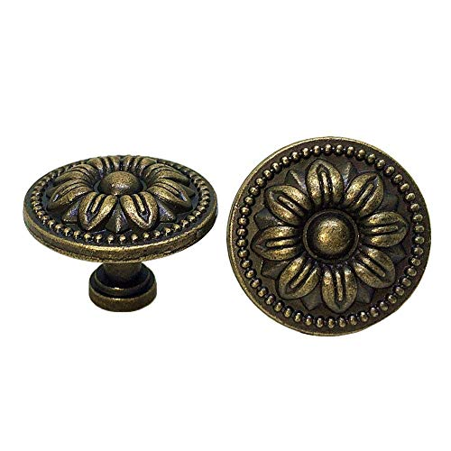 DFHM 10 Pomelli Bronzo Vintage Antico Motivo Floreale Zinco 35mm Maniglie per Cassettiere Credenze Cucina Armadio e Cameretta Mobili