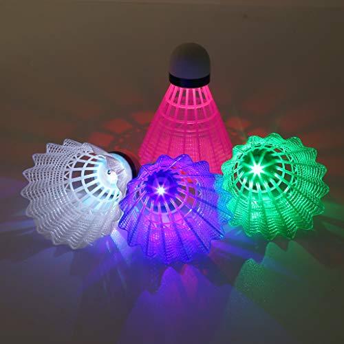 ruiruiNIE 4pcs färbte leuchtendes Badminton-Dunkles Nachtglühen des Plastik-LED, das Federball beleuchtet