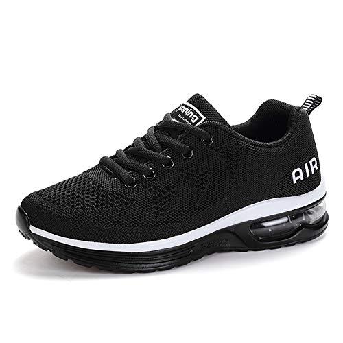 Axcone Hombre Mujer Zapatillas de Correr Casual Aire Libre Deporte Fitness Zapatillas de Running para Deportivos Entrenamiento-Blanco Negro 40