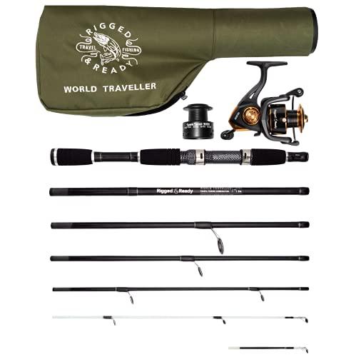 "World Traveller Travel Fishing Rod Reel & Case Set. Compact 6 Sections 2 Tips. 215cm 7' + 1.9cm 6' 1"" Nano-Carbon Fishing Rod Options. Spin Bait Carp Pike Sea Fishing"