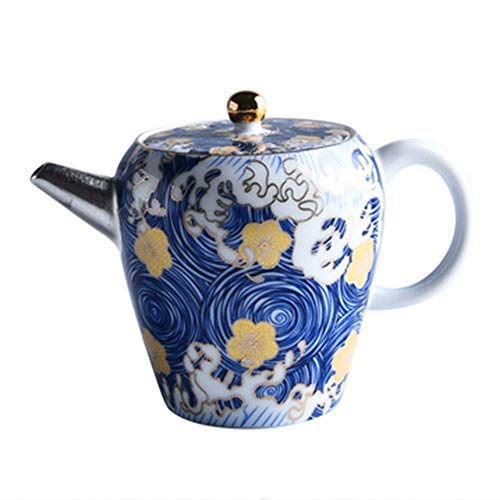 YUNLILI Ceramic Teapot Enamel Sterling Silver Teapot Gilt Silver Household Filter Teapot for Bulk Tea and Tea Bags for Home and Tea Party Chinese style (Color : Blue, Size : 160ml)