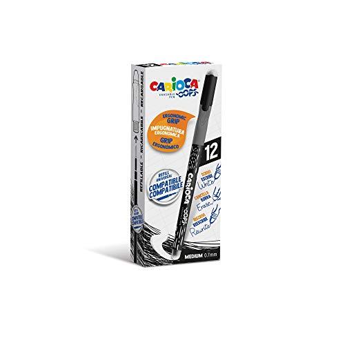 CARIOCA Oops Stifte | Radierbarer Stift Tintenroller Nachfüllbarer Kugelschreiber für Schule und Büro mit Doppelradierer und Ergonomischem Griff, Schwarze Stifte, 12 Stück