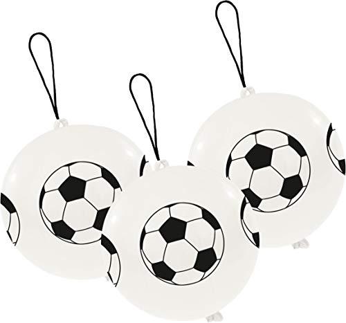 amscan 10072590 INT995794 3 Latexballons Punch Balls Fußball, Weiß