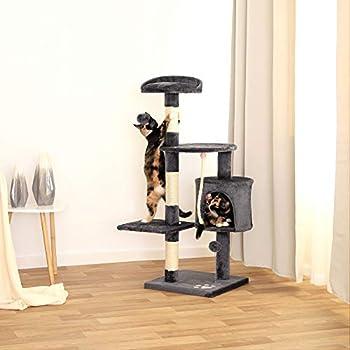 lionto by dibea Arbre à chat arbre à grimper griffoir pour chat hauteur 112 cm Gris foncé