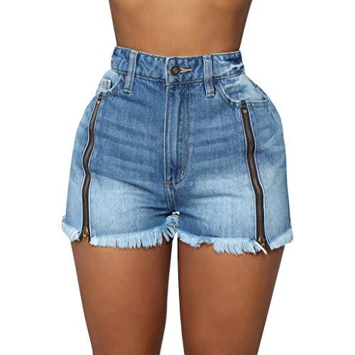 Shorts Damen Hosen Teen Mädchen Sommer Hotpants Mittlere Taille Kurze Hose Zerrissen Jeans Leggings Strand Sporthosen Reißverschluss Denim Kurze Jeans