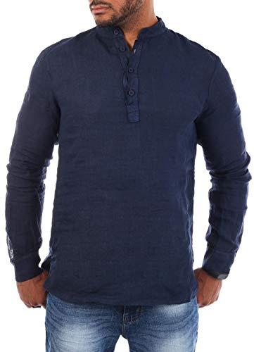 Young & Rich Herren Leinen Langarm Shirt mit Knopfleiste Henley Tunika Hemd Regular fit 100% Leinen H1652 / T3168, Grösse:3XL, Farbe:Dunkelblau