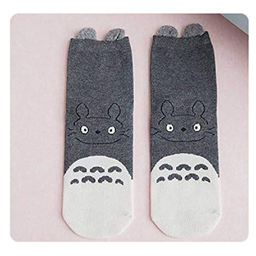 ZHANGNUO Frauen Cartoon Mode Socken Totoro Jacquard Baumwolle Kawaii Mädchen Hairball Cute Pink Hit Farbe Casual Animal Geschenk Für Mädchen OneSize/Grau