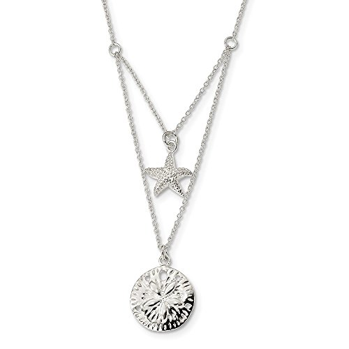 925 Sterling Silver Starfish Sand Dollar Sea Star 18 Inch 2 Strand Chain Necklace Pendant Charm Fish Life Fine Jewelry For Women Gifts For Her