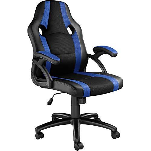 TecTake 800781 Racing Bürostuhl, Chefsessel mit Wippmechanik, Kunstleder Gaming Stuhl, höhenverstellbarer Schreibtischstuhl, ergonomischer Drehstuhl - Diverse Farben - (Schwarz-Blau | Nr. 403480)