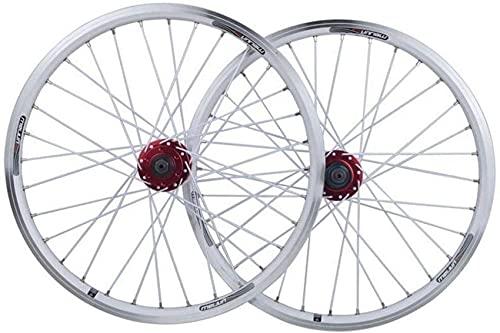 TYXTYX Juego de Ruedas de Bicicleta Plegable Rueda de Bicicleta BMX de 20 Pulgadas Disco de llanta de aleación de Doble Capa/Freno en V QR 7-10 Velocidad 32H Ruedas Delanteras y traseras de bicic