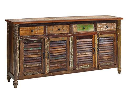 MASSIVMOEBEL24.DE Massivmöbel Vintage massiv Holz Möbel Sideboard Altholz lackiert Mehrfarbig Massivholz Fable #17