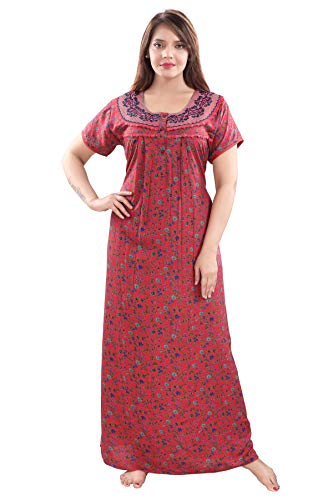Soulemo Women's Blended Embroidered Maxi Nighty (861AS_ruby_Small)