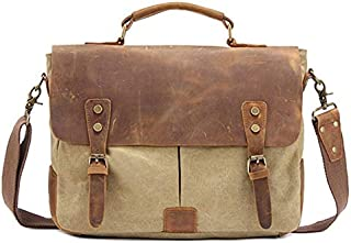 Color : Brown FeliciaJuan Vintage Canvas Messenger Briefcase Ipad Bag Shoulder Satchel Crossbody Hiking Traveling Handbag for Men Women