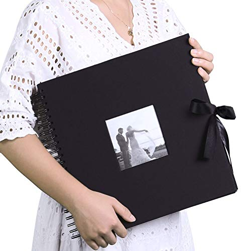 Scrapbook Photo Album 12x12 Inch DIY with Cover Photo Pocket 80 Pages Silk Ribbon Craft Paper Album for Guest Book Anniversary Wedding Valentines Day