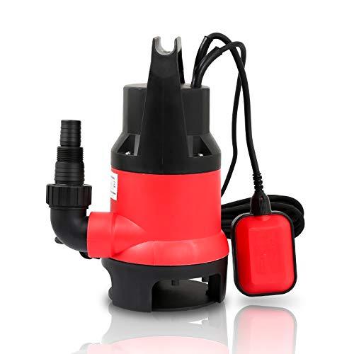 Hengda 400W Schmutzwasserpumpe Klarwasser Tauchpumpe Flachsaugend max. 5 m Förderhöhe, Fremdkörper bis 35 mm