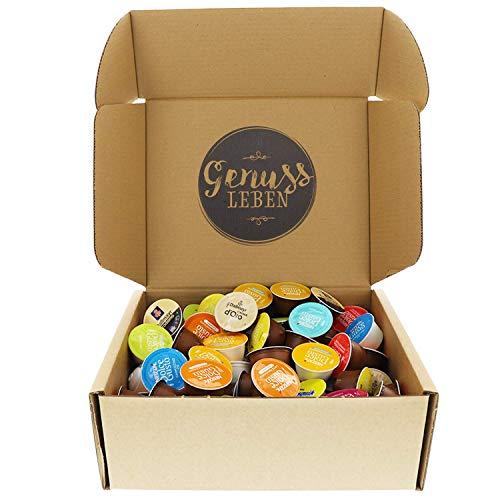 Genussleben Geschenkbox Dolce Gusto Box ca. 100 Stück verschiedene Sorten Kaffeekapseln, Latte macchiato, Cappuccino Großpackung