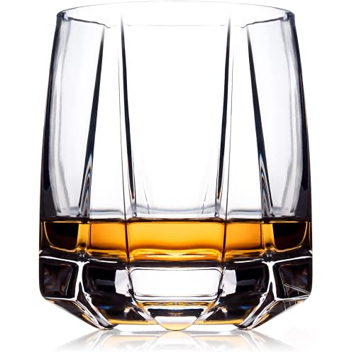 Whiskey Glasses Set 2 | Old Fashioned Glasses for Scotch Whisky, Bourbon and Cocktails | Hand Blown Scotch Glasses with Thick Weighted Base | Modern Rocks Glass