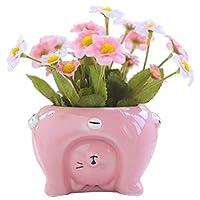 Katigan かわいい漫画の動物形 多肉サボテン 花の植木鉢プランター ホームガーデンオフィス用デスクトップデコレーション ピンク