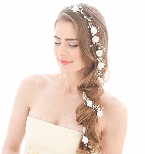 Aukmla Hochzeitshaarschmuck, langes weiß-silbriges Hochzeitsstirnband mit Blumen für Braut und Brautjungfern