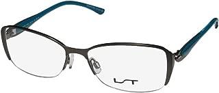 Lightec By Morel 7036l Womens Designer Half-rim Spring Hinges Stainless Steel Contemporary Eyeglasses/Eye Glasses (53-16-135, Gray/Blue)