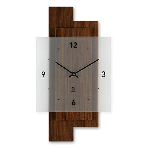 Natuhr Wanduhr Holz Nusswald, geräuscharm, Massivholz Nussbaum, Mineralglas, Junghans Uhrwerk, Made...