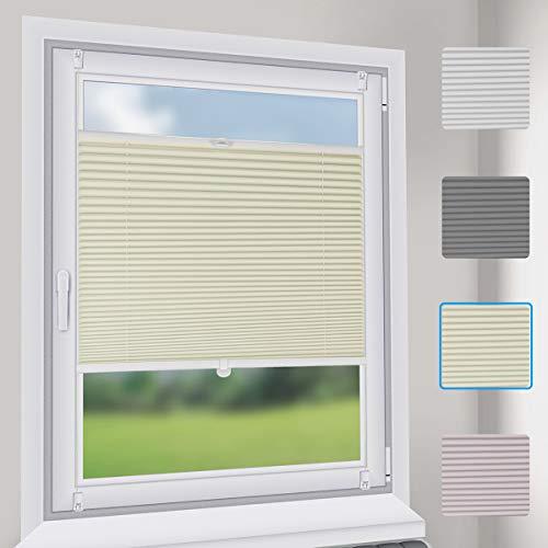 Sekey Premium Plissee - Hochwertiges Faltrollo ohne Bohren - 50 x 100cm - Jalousie für Fenster & Tür - Sonnenschutz - lichtundurchlässig - Beige