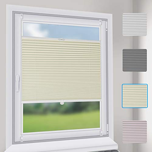 Sekey Premium Plissee - Hochwertiges Faltrollo ohne Bohren - 115 x 130cm - Jalousie für Fenster & Tür - Sonnenschutz - lichtundurchlässig - Beige