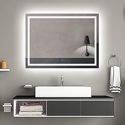 Aicait 90x60cm Specchio per Trucco da Parete a Parete con Specchio a LED per Il Bagno a Parete a LED Nuovo Pulsante,Bianco Freddo,Anti-Appannamento
