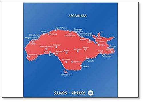 Eiland Samos in Griekenland Rode kaart Illustratie Koelkast Magneet
