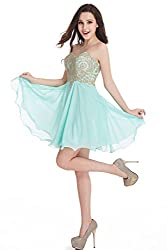 Junior's Mint Green Applique embellished Lace Short Homecoming Dress