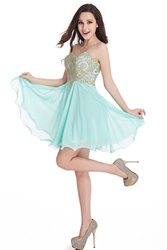 Short Beading Keyhole Back Tulle Homecoming Dresses Prom Gowns (Mint,4)