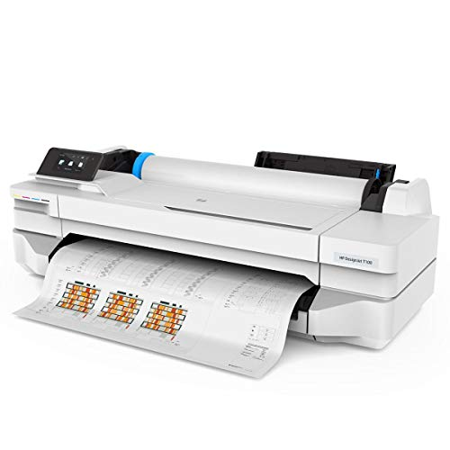 HP DesignJet T100 Large Format Compact Wireless Plotter Printer - 24 inch, with...