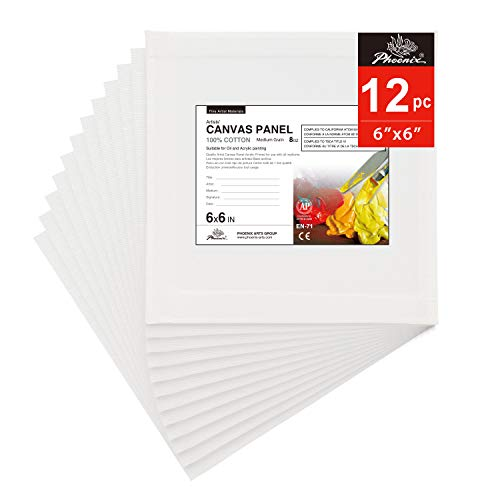 PHOENIX Artist Painting Canvas Panels - 6x6 Inch / 12 Pack - Triple Primed Cotton Canvas Boards for Oil