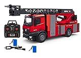 MODELTRONIC Camión de Bomberos Huina 1561 Lanzamiento de Agua, Sonidos, Luces Mercedes-Benz Acros 1:14 con Escalera proporcional