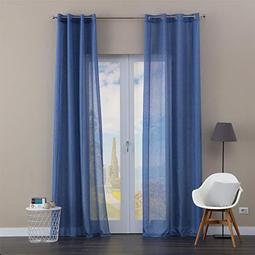 eurostyle Cortina Iris azul azul semitransparente con ojales de aluminio suave para dormitorio y salón 140 x 280 cm n 1 panel
